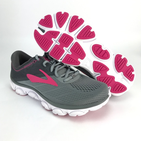 5aa201a6ccd Brooks Womens Anthem 2 Gray Pink Running Shoes